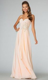 Peach Long Sparkly Jovani 88171 Prom Dresses 2014
