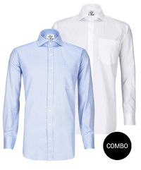White Satin and Blue Herringbone Regular Fit Premium 2 Ply Cotton Shirt Combo Pack �'�2499.00