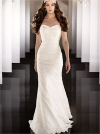 Elegant strapless v-neck floor length lace wedding dress