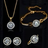 Price: $18.90 | Product: Top Quality Gold Silver Plated Zircon Crystal Ladies Necklace Set | Visit our online store https://ladiesgents.ca