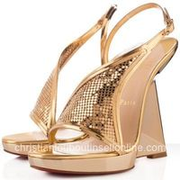 Popular Christian Louboutin Roxy Muse 120mm Leather Wedges Gold Online
