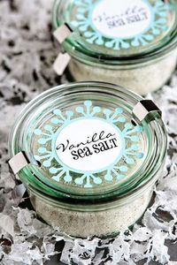 ~ Vanilla Sea Salt ~ 1 cup sea salt 4 vanilla beans, split lengthwise and scraped, seeds reserved DIRECTIONS: 1. In a large bowl, combine sea salt and vanilla seeds. Use the tips of your fingers to rub the vanilla seeds into the sea salt until they are th...