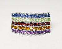 Sterling Silver Rainbow Ring - Wide Cigar Band Style - Marked 925 - Colorful Gemstones - Vintage Pre 1998 - Retro MOD Style Dinner Ring - $64.00