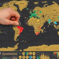 Scratch Map small mini version of black Scratch Map creative luxury world version of black gold travel Map. $17.99
