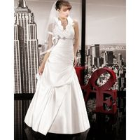 Simple A-line Halter Beading Floor-length Satin Wedding Dresses - Dressesular.com