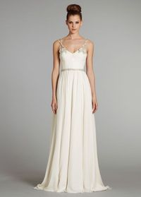 Empire V Neck Court Train Wedding Dress