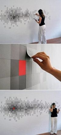 white gray and red wall - guest engagement idea