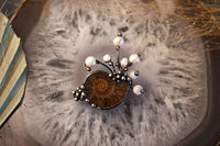 Small barrette with Natural Ammonite and Natural Pearl, Hair Clip, Pearl clip $44.00
