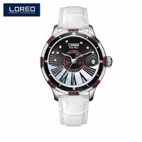 LOREO Rose Gold Design Brown Women Watch Luxury Hollow Design Mechanical Watch Female Clock Casual Auto Date Wristwatches AB2070 $209.97