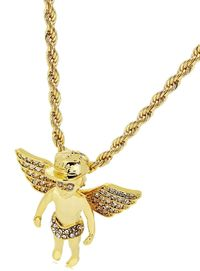 Gold Finish Angel Crystal Studded Pendant Iron Rope Chain 3mm Necklace £17.95