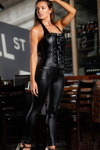 Elegant Leather Corset made with the beautiful ruche design to accentuate the elegance of this corset. Easily worn with the easy to get in and out of front zip. This corset features the beautiful lace up over top of the zipper. Get your hour glass figure ...