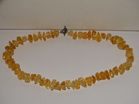 """Sterling Silver Genuine Pearl & Rock Crystal Citrine Stone 15"""" Inch Necklace. $26.00"""