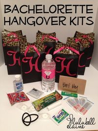 """It would be neat to have a """"swag bag"""" set up for all the girls for the night of the party and then these for the girls to have the next morning! Bachelorette Party DIY duct tape party favor bags and Hangover Kits ~Lulubell Elaine~"""