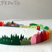 DIY felt scenery for train tracks.