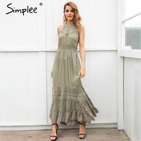 Simplee Halter hollow out long summer dress women Backless tie up bow maxi dress Elegant 2018 spring lace dress female vestidos $86.76