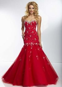 2014 Red Long Sparkly Beaded Lace Cover Corset Back Mermaid Gown