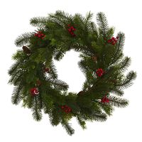 Christmas Wreath -24 Inch Pine And Berry Door Wreath https://wroughtironhaven.com