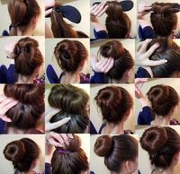 Tie ponytail..and the end of ponytail. Slit some thick or thing fabric roll up..twist and bobbypostor put an elastic over it. Tada..a hairbun.