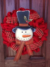 Red burlap Christmas wreath with snowman