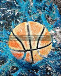 This is a colorful modern basketball art print. The basketball artwork comes in different sizes and is a photo print. #basketball #basketballart #sportsart #urbanart #streetart #sports #wallart #mancave #colorful #boysroom #photo