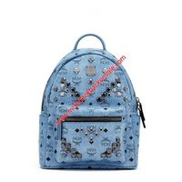 MCM Small Stark M Studs Visetos Backpack In Washed Blue