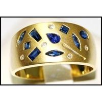 Wedding Diamond Blue Sapphire 18K Yellow Gold Band Ring [RF0004]