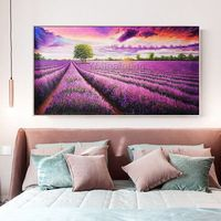 Flower acrylic Painting on Canvas lavender extra Large Purple Wall Art Pictures for living room Dinning Hand Painted Original floral Art $149.00