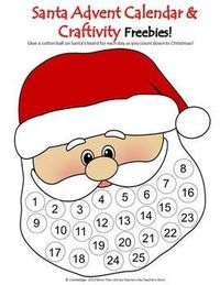 FREE! Santa Advent Calendar- Count down to Christmas day by gluing a cottonball to each circle in Santa's beard. includes a version without numbers in both color & BW. Happy Holidays from Speech Sprouts!