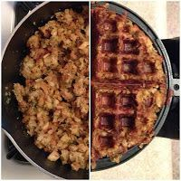 Leftover Stuffing Waffles - Helps keep it on the Sandwich :)
