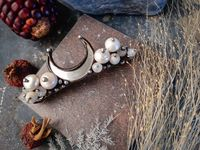 Natural Pearl hair clip, Natural Pearl barrette with mirror crescent moon, hair pin, Pearl clip, beaded french hair barrette,Bridal pearl $57.00