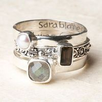 love this childrens names engraved in their handwriting with their birthstone on each ring