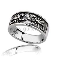 Gullei.com Custom Scorpion Promise Ring for Him Silver 10mm