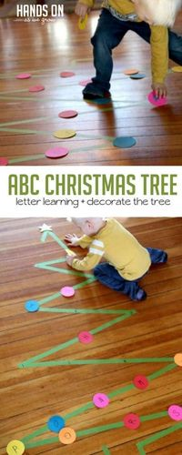 A Christmas tree activity with learning! We do all these Christmas crafts, but we can also be learning and getting the kids moving during the holidays.