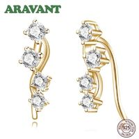 925 Sterling Silver Clear CZ Cubic Zirconia Ear Climber Earrings For Women Wedding Sterling Silver Jewelry $25.00
