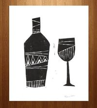 Wine Bottle & Glass Linocut Art Print by Printwork on Scoutmob Shoppe