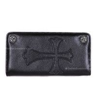 Chrome Heart Black Big Cross Leather Coin Purse Wallet