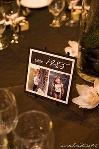 Table #'s that have a year and pictures of the bride and groom from that year... must do at my wedding!