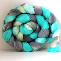 Spun Right Round BEACH GLASS - Handpainted - Hand Dyed Merino Wool Roving