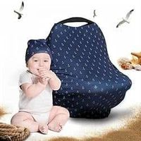 "Cool Beans Baby Car Seat Canopy and Breastfeeding Nursing Cover �€"" Multiuse �€"" Covers High Chairs, Shopping Carts, Car Seats �€"" Bonus Infant Baby Beanie and Bag"