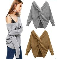 Two wear V-neck knotted halter sweater long sleeve sweater 8 color $24.88