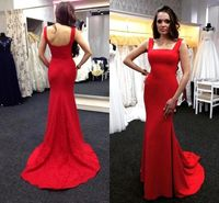 Simple Fitted Square Neck Long Red Jersey Evening Prom Dress With Straps