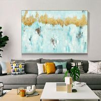 Gold leaf framed wall art abstract Paintings on canvas original art green paintings heavy texture painting cuadros abstractos wall pictures $89.00