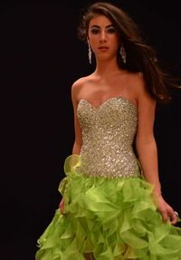Lime Sparkly Top Ruffled High Low Prom Dress