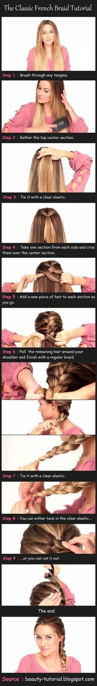 "French Braid �€"" never though of doing a small ponytail to start with!!!"