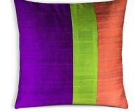 Multicolored Raw Silk Cushion Cover - Colorblock Pattern Silk Pillow - Handmade Silk Cushion Cover - Entryway Silk Pillow Covers - Gift4Her