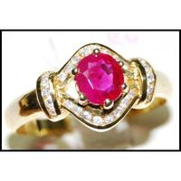 Solitaire Jewelry Ruby Diamond Ring 18K Yellow Gold [RS0127]