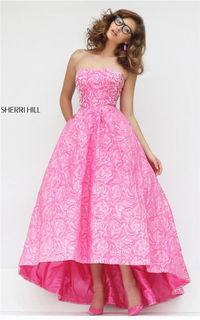 2017 Sherri Hill 50436 Pink Floral Prom Style Strapless Hi-Low Gown