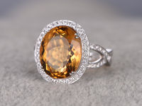 BIG 8.88CTW OVAL CUT CITRINE AND DIAMOND ENGAGEMENT RING 14K WHITE GOLD HALO CURVED INFINITY LOOP