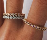 Stacking Rings Bands Jewelry Ring Set Ruby Diamond Pink Sapphire Genuine Gemstones Top Quality 45 stones Anniversary Gift 3 Rings 14K Gold $1490.00