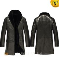 Father's Day Gifts 2018   CWMALLS® Men Black Shearling Leather Coat CW858101[Custom Made, Off-site Delivery]